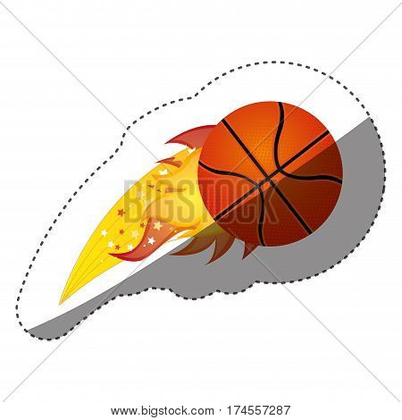 sticker colorful olympic flame with basketball ball vector illustration