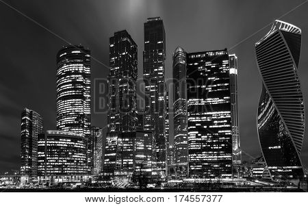 Moscow international business centre Moscow-city at night. View from the embankment. Russia Monochrome image.