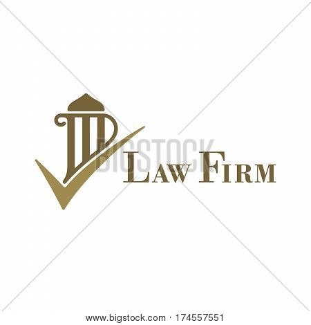 Pillar and check mark shaped logo for law firms. Vector illustration template.