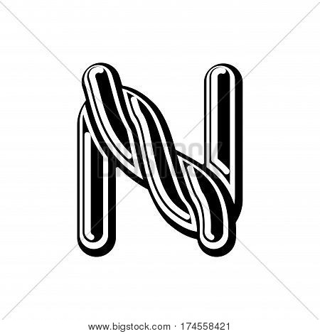 Letter N Celtic Font. Norse Medieval Ornament Abc. Traditional Ancient Manuscripts Alphabet