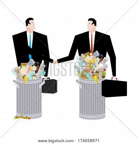Businessman Handshake  In Trash Can. Business Deal Of Garbage. Tie And Case. Rubbish Manager