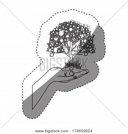 sticker grayscale contour with leafy tree over hand vector illustration