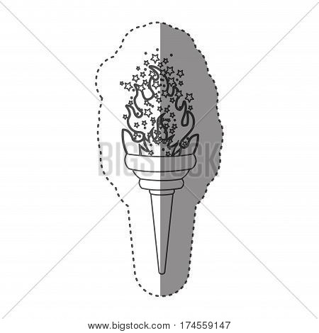 sticker grayscale contour with olympic torch flame with stars vector illustration