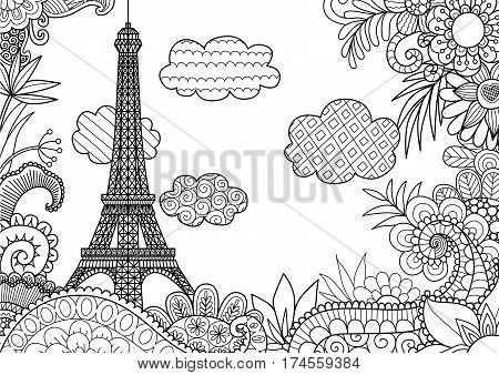 Spring in Paris for coloring book pages