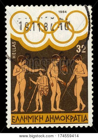 GREECE - CIRCA 1984: A stamp printed in Greece shows image of ancient greek athletes,