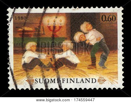 Finland - CIRCA 1980: A stamp printed in Finland shows children's Christmas games, series Christmas, circa 1980