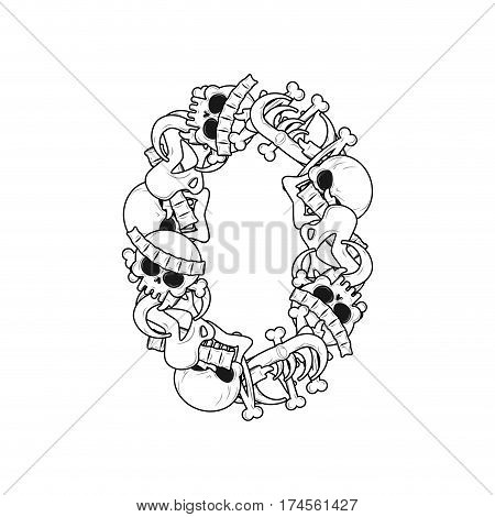 Number 0 Skeleton. Bones Font Zero. Anatomy Of An Alphabet Symbol. Dead Abc Sign