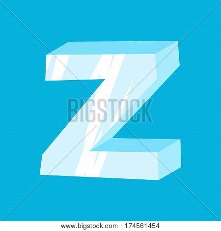 Letter Z Ice Font. Icicles Alphabet. Freeze Lettering. Iceberg Abc Sign