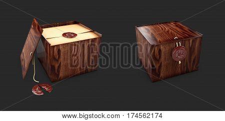 Box caskets with royal stamp. 3d Illustaration