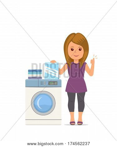 Isolated vector cartoon woman housewife washes clothes in the washing machine. Advertising washing powder. Modern girl busy household chores. Concept design illustration housework in flat style.
