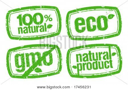 set of ecology stamps, GMO free.