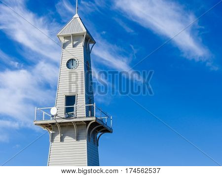 Clock tower on Cunningham pier in Geelong, Victoria, Australia