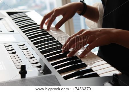 A Woman playing piano, Classic music, Hand playing piano