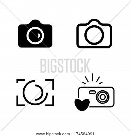 Camera Icons Isolated Or Snapshot Photography Concept