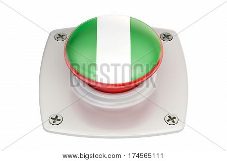 Nigeria flag push button 3D rendering on white