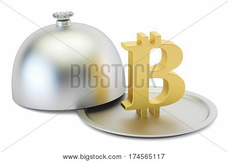 Restaurant cloche with gold bitcoin symbol 3D rendering
