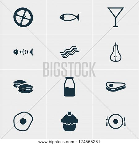 Vector Illustration Of 12 Food Icons. Editable Pack Of Seafood, Cruet, Biscuit And Other Elements.