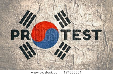 Protest word. Illustration relative to Korean politic crisis. National flag elements. Billboard concept. Grunge texture