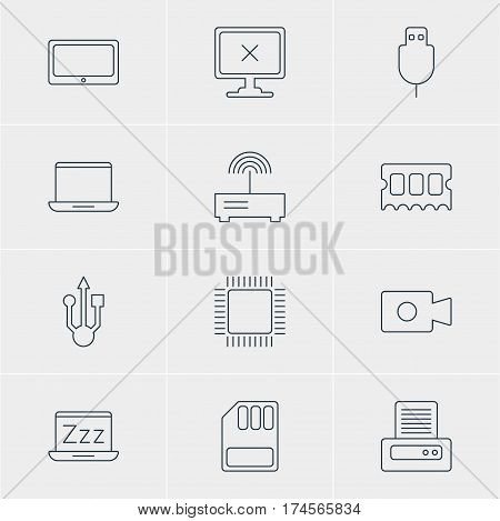 Vector Illustration Of 12 Notebook Icons. Editable Pack Of Microprocessor, Laptop, Memory Chip And Other Elements.
