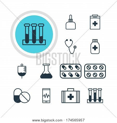 Vector Illustration Of 12 Medicine Icons. Editable Pack Of Medicine, Antibiotic, Exigency And Other Elements.