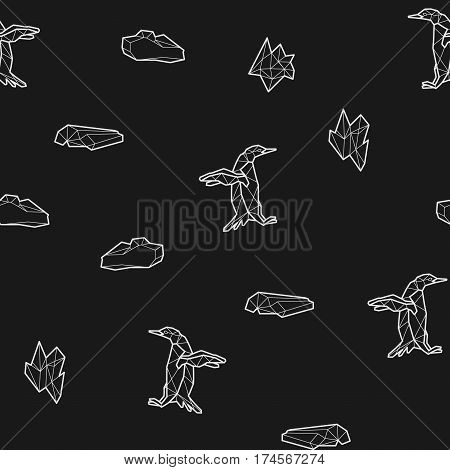Seamless black and white kids tribal pattern with penguins and ice floes. Vector illustration.