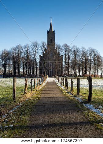 Elisabeth church in Bedburg-Hau Louisendorf on a sunny winter day