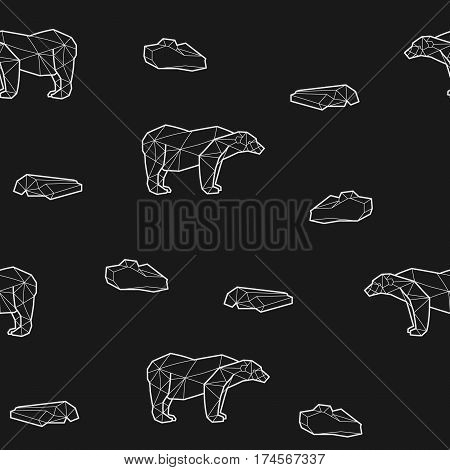 Seamless black and white kids tribal pattern with polar bears and ice floes. Vector illustration.