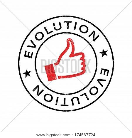 Evolution rubber stamp. Grunge design with dust scratches. Effects can be easily removed for a clean, crisp look. Color is easily changed.