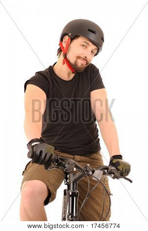 Portrait of the bicyclist isolated on white, studio shot.