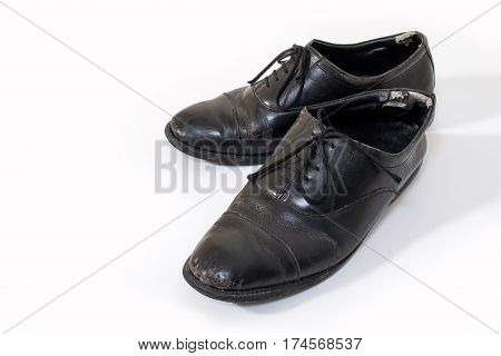 Used Business Man Old Leather Shoes Isolated On White Background With Copy Space. Old Business Shoes