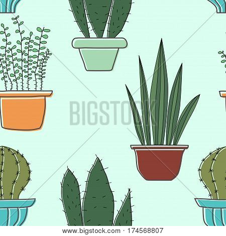 Seamless pattern with plants. Seamless vector pattern with cacti in pots. Texture for your design paper fabrics. Stock vector