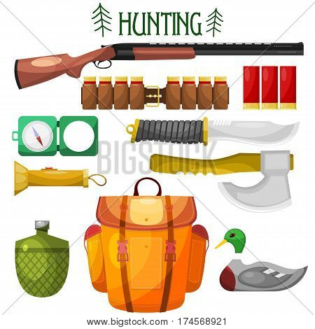 Hunting cartoon Icons. Set of vector cartoon icons of hunting. Illustration for hunting objects: knife an ax backpack gun compass cartridge flashlight water bottle bait. Stock vector