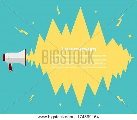 Megaphone on a green background. Megaphone in a flat style on a green background with the explosion. Vintage background with speaker illustration for the message advertising. Stock vector