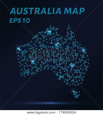 Map of Australia from points lines and triangles. The polygon shape in the form of a map of Australia on a dark background. Vector illustration