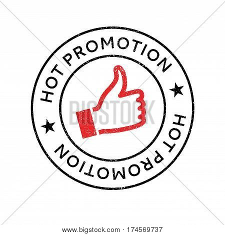 Hot Promotion rubber stamp. Grunge design with dust scratches. Effects can be easily removed for a clean, crisp look. Color is easily changed.