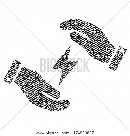 Electricity Care Hands vector textured icon for overlay watermark stamps. Fabric black vectorized texture. Symbol with dirty design. Rubber seal stamp with fiber textile structure.
