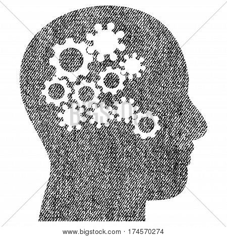 Human Mind Gears vector textured icon for overlay watermark stamps. Fabric black vectorized texture. Symbol with dirty design. Rubber seal stamp with fiber textile structure.