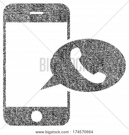 Smartphone Call Balloon vector textured icon for overlay watermark stamps. Fabric black vectorized texture. Symbol with unclean design. Rubber seal stamp with fiber textile structure.