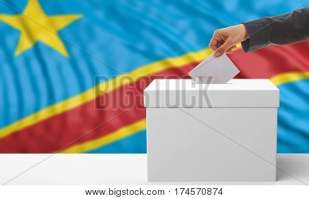 Voter On A Congo Flag Background. 3D Illustration