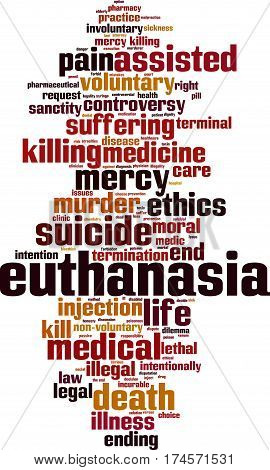 Euthanasia word cloud concept. Vector illustration on white