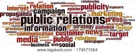 Public relations word cloud concept. Vector illustration