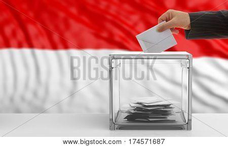 Voter On An Indonesia Flag Background. 3D Illustration