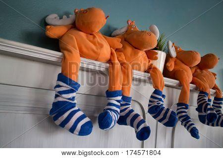 Cow Dolls Of Home Interior Decoration stock photo