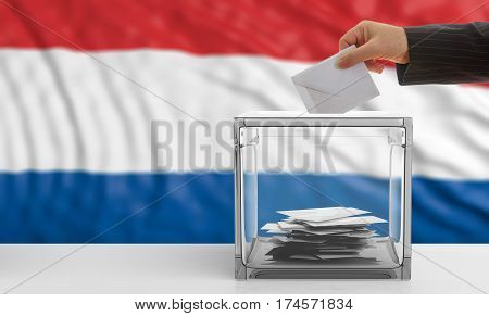 Voter On A Netherlands Flag Background. 3D Illustration