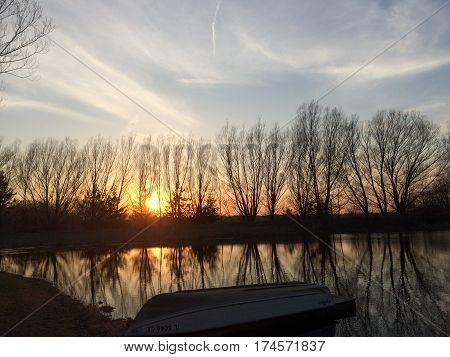 Sunset over Pond at Timber Ridge Drive in Elgin, Illinois