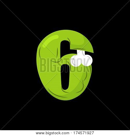 Number 6 Zombie. Monster Font Six. Bones And Brains Alphabet Sign. Green Abc Symbol