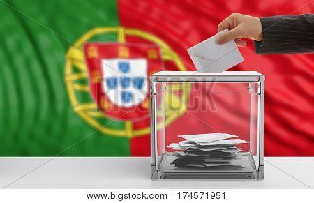 Voter On A Portugal Flag Background. 3D Illustration