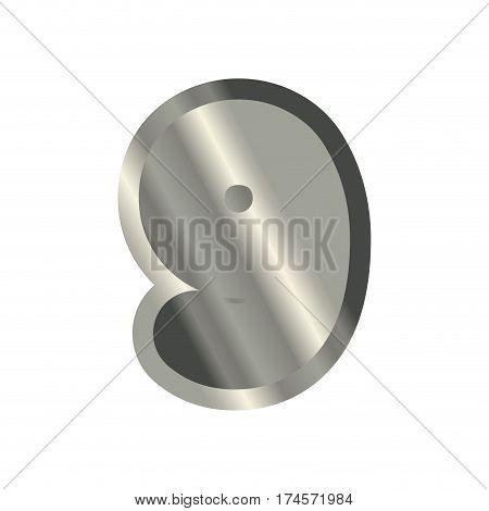 Number 9 Steel. Metal Font Nine. Silver Alphabet Sign. Iron Abc Symbol