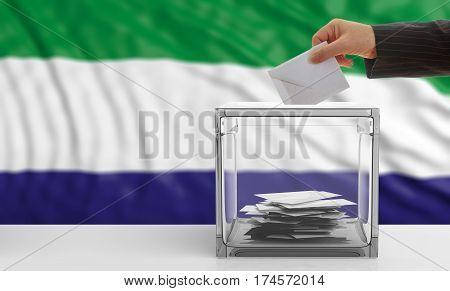 Voter On A Sierra Leone Flag Background. 3D Illustration