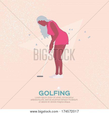Beautiful golf girl. Female golfer. Sport game Tournament. Player teeing-off. Swing golf ball. Summertime.Sport wear. Dress. Vector illustration